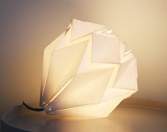 Origami table lamp handmade in paper