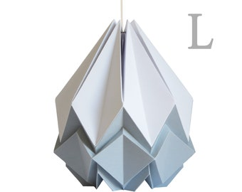 Large origami lampshade in white and light grey paper