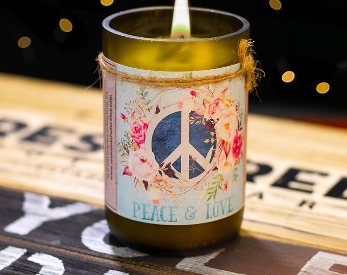Featured listing image: Scented Soy Candle, Wine Bottle Candle, Recycled Bottle, Gift Ideas, Birthday, Wedding, Aromatherapy Candle, Soy Wax, Personalized Gift