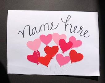 Customizable Heart Balloons Card