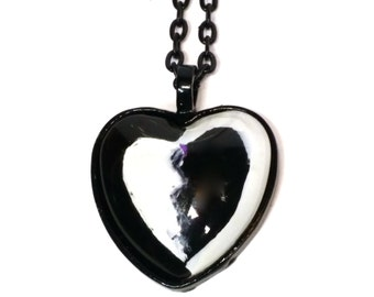 SOLD! Necklace, Shadow Heart, White/Black Heart, 1 inch, 25mm, Black Rolo Chain, Gift, For Her, For Teen,