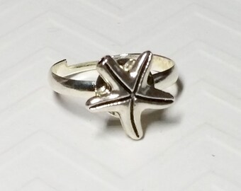 Silver Starfish Ring, 12mm, Adjustable silver-plated setting,