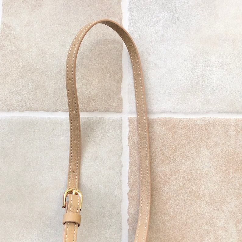 Light Tan Faux Leather Purse Strap 1.2cm Width