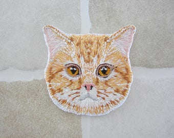 Embroidered Cat Head Patch Iron/Sew On