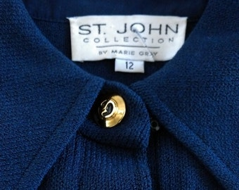 389aac2cf53 Vintage ST.JOHN COLLECTION by Marie Gray deep navy knit jumpsuit Excellent  quality