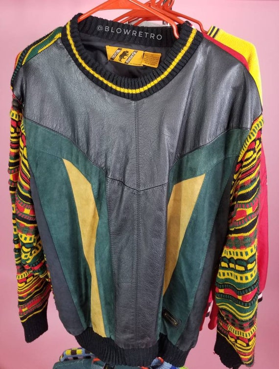 Vintage Leather and Acrylic Sweater