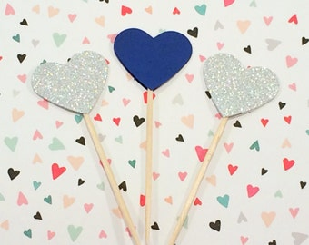 12 Navy Blue & Silver Glitter Heart Cupcake Toppers, Paper Hearts, Heart Toppers, Wedding Cupcake Toppers, Sparkly Wedding Decor