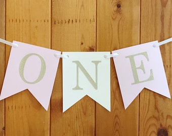 First Birthday, High Chair Banner, 1st Birthday, Pink and Gold Glitter Party Decor, Highchair Banner, Cake Smash Prop, Flag Banner, I Am One
