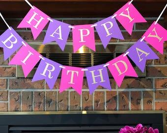 Pink Purple Birthday, 1st Birthday Banner, Princess Birthday, Purple Birthday Banner, Pink and Gold, Cake Smash Backdrop, Happy Birthday