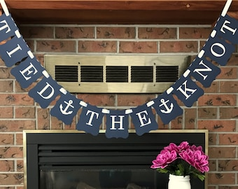 Tied the Knot, Nautical Wedding, Wedding Banner, Anchor Sign, Getaway Car Sign, Car Banner, Nautical Banner, Navy Wedding, Beach Wedding