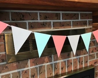 Mint Coral Bunting, Bridal Shower Bunting, Triangle Flag Bunting, Mint Coral Banner, Tea Party Bunting, Mint Coral Grey, Nursery Bunting
