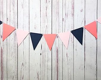 Navy Coral Pink, Paper Garland, Bridal Shower Decor, Pennant Banner, Triangle Garland, Bridal Tea Decor, Coral Navy Nursery, Coral Birthday