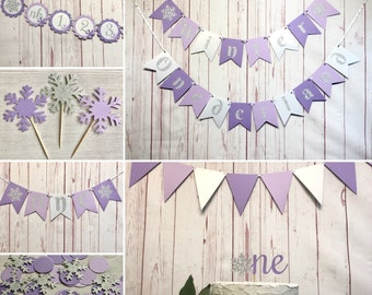 Purple Winter Onederland Party Package, Onederland Birthday Decorations, Snowflake 1st Birthday, Winter Wonderland Party Supplies