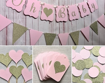 Blush Baby Shower Package, Baby Shower Supplies, Pink and Gold Baby Shower, Pink Baby Shower, Oh Baby, Tickled Pink, Pink and Gold Hearts