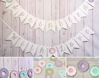 Sprinkled With Love Baby Shower Party Pack, Baby Sprinkle Decorations, Donut Party Supplies, Baby Shower Package, Donut Themed Baby Shower