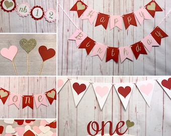 Sweetheart 1st Birthday Party Package, Little Sweetheart Party Decorations, Valentine's 1st Birthday, Red and Pink Heart Birthday Decor