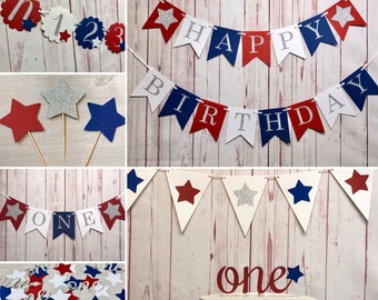 Firecracker 1st Birthday Party Package, Fourth of July Birthday, Red White and Blue Party, Patriotic 1st Birthday Supplies, 4th of July 1st