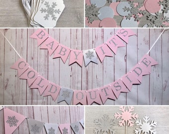 Pink Snowflake Baby Shower Party Package, Baby Its Cold Outside, Winter Wonderland Decorations, Winter Baby Shower Package, Little Snowflake