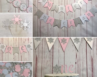 Pink Winter Onederland Birthday Girl Party Package, Onederland Birthday Decorations, Snowflake First Birthday, Winter Wonderland Party Decor