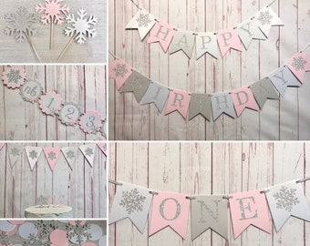 Winter 1st Birthday Party Package, Happy Birthday Party Package, Onederland Birthday, Pink Snowflake 1st Birthday, Winter Wonderland Party