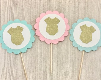 Baby Cupcake Toppers, Baby Bodysuit Cupcake, Gender Reveal Party, Baby Shower Cupcake, Mint Baby Shower, Pink and Blue Gender Reveal Decor