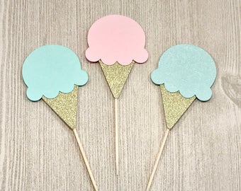 Ice Cream Toppers, Ice Cream Birthday, Ice Cream Social, Gender Reveal, Ice Cream Party Decor, Sundae Party, Summer Party, Pink, Mint, Gold