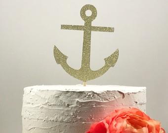 Anchor Cake Topper, Gold Anchor, Nautical Cake Topper, Nautical Wedding, Cake Decoration, Nautical Baby Shower, Beach Wedding, Engagement