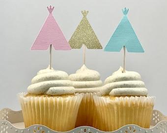 Teepee Cupcake Toppers, Wild One Birthday, Two Wild Birthday, Tribal Party, Tribal Cupcake, Pow Wow Party, Wild and Three, Boho Birthday