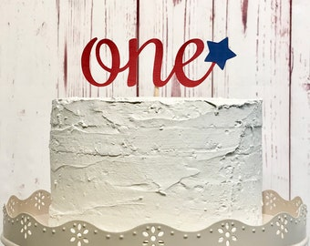 Fourth of July Smash Cake Topper, One Cake Topper, Patriotic Cake Topper, 4th of July Birthday Party, Red White and Blue, Little Firecracker