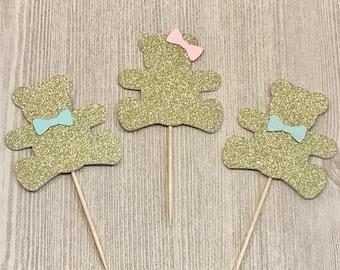 Teddy Bear Cupcake Toppers, Teddy Bear Birthday, Gender Reveal Party, Bear Baby Shower, Teddy Bear Party, Glitter Bears, 1st Birthday Decor