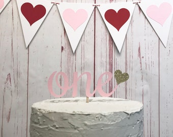 One Heart Cake Topper in Pink and Gold, Valentines Day 1st Birthday Cake, Little Sweetheart 1st Birthday, First Birthday Cake Smash Topper