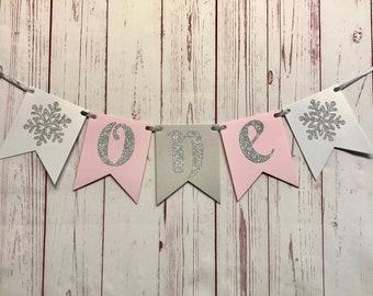 Pink Snowflake First Birthday Banner, Winter Onederland Birthday Girl Highchair, One Snowflake High Chair Banner, Winter Cake Smash Banner