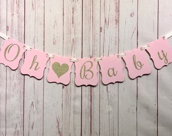 Pink and Gold Oh Baby Banner, Blush Baby Shower Decoration, Girl Baby Shower, Gender Reveal Banner, Oh Baby Shower Decor, Pink Baby Shower