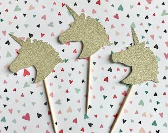 Gold Glitter Unicorn Cupcake Toppers, Unicorn Party Decor, 1st Birthday Cupcake, Cupcake Decoration, Unicorn Baby Shower, Unicorn Birthday