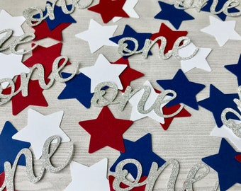 50 Red White and Blue Star One Confetti, Patriotic 1st Birthday, Little Firecracker Party Decor, 4th of July Confetti, One Birthday Confetti