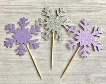 Winter Onederland Cupcake Toppers, Snowflake Cupcake Toppers, Snowflake Birthday Decor, Winter 1st Birthday Decoration, 1st Birthday Cupcake