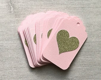 Blush Pink and Gold Tags, Bridal Shower Favor Tags, Heart Gift Tags, Pink and Gold Party Decor, Blush and Gold Wedding, Gold Glitter Heart