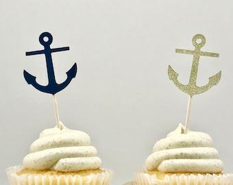 Anchor Cupcake Topper, Blue Anchor Topper, Glitter Anchor Topper, Nautical Decor, Nautical Baby Shower, Beach Party Decor, Nautical Cupcake