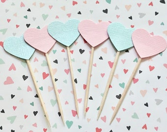 Boy or Girl Cupcake Topper, Gender Reveal Party, Pink or Blue We Love You, Baby Shower Topper, Heart Cupcake Toppers, Baby Sprinkle Decor
