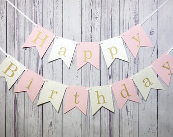 1st Birthday Banner, Happy Birthday, Pink & Gold Birthday Decor, Cake Smash Photo, First Birthday, Personalized Name, Glitter, Flag Banner