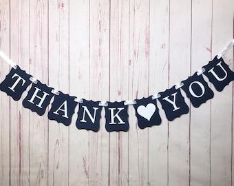 Thank You Banner, Wedding Photo Prop, Thank You Card Sign, Navy Wedding Banner, Wedding Thank You, Nautical Wedding, Thank You Note Sign
