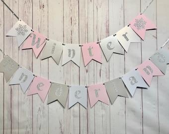 Pink Winter Onederland Girl 1st Birthday Banner, Snowflake First Birthday, Winter 1st Birthday Banner, Onederland Birthday Decorations