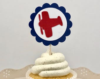 Airplane Cupcake Toppers, Time Flies Theme, First Birthday, Plane Cupcake Topper, Aviator Birthday, Transportation Theme, Baby 1st Birthday
