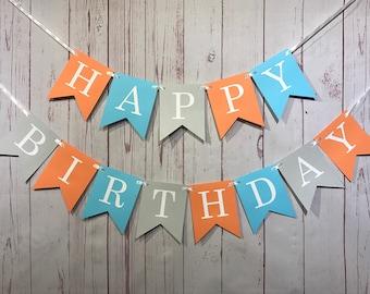 Happy Birthday, Boy 1st Birthday, Fall Birthday Decor, Blue and Orange, Boy Birthday Banner, Gray Birthday Banner, Orange Birthday, Autumn