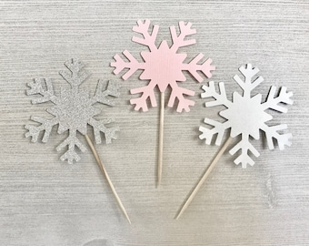 Pink and Silver Snowflake Cupcake Toppers, Winter Onederland Birthday, Snowflake Birthday Decor, Winter 1st Birthday, Snowflake Baby Shower