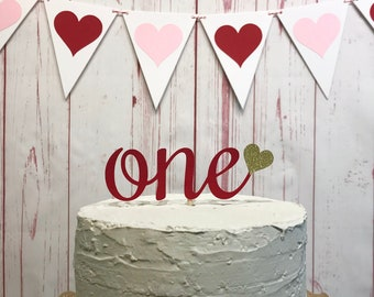 One Heart Cake Topper in Red and Gold, Valentines Day 1st Birthday Cake, Little Sweetheart 1st Birthday, First Birthday Cake Smash Topper