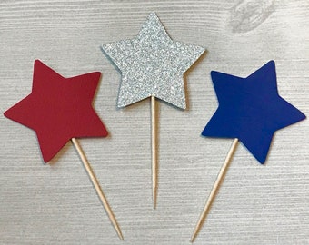 Patriotic Star Cupcake Toppers, Fourth of July Party, Little Firecracker Party, 4th of July 1st Birthday, 4th of July Baby Shower Cupcakes
