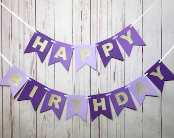Purple Birthday Banner, 1st Birthday Banner, 1st Birthday Girl, Purple and Gold, Happy Birthday, Cake Smash, Girl Birthday, Purple Ombre