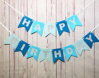 Blue Birthday Banner, 1st Birthday Banner, Boy Birthday, 1st Birthday Boy, First Birthday, Happy Birthday, Cake Smash, Blue and Silver
