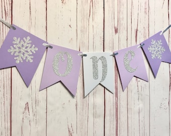 Purple Winter Onederland Highchair Banner, Snowflake High Chair Banner, Snowflake 1st Birthday Banner, Ice Princess Party, One High Chair